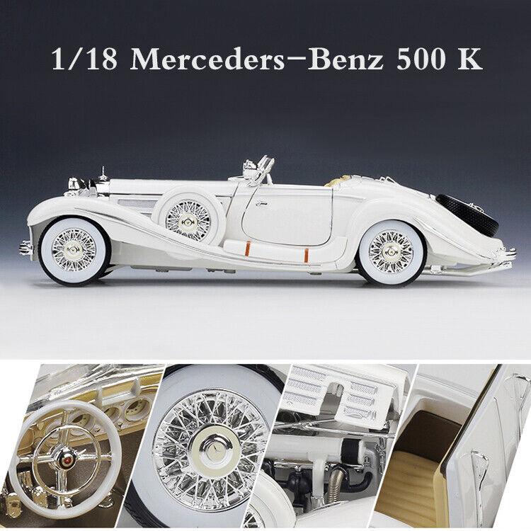 Vintage Collection 1:18 Mercedes-Benz 500 K White 1936 Diecast Car Model Toys