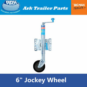 Ark-Jockey-Wheel-6-inch-Swing-Up-Trailer-Boat-Swivel-Wheels-Stand-U-Bolts-JWE6SU