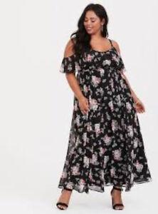 8fe0bcb4a0 Torrid Black Floral Cold Shoulder Chiffon Maxi Dress 3X 22 24  36422 ...
