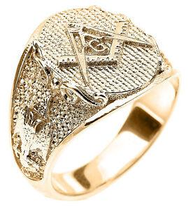 14k-Solid-Yellow-Gold-Masonic-Men-039-s-Ring-Scottish-Rite
