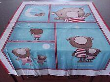 Shine Bright Panel 35x42 Stacey Yakula Crib Top Teddy Bears Teal Blue Red