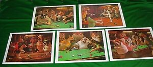 ARTHUR-SARNOFF-QUALITY-PICTURES-SNOOKER-POOL-TABLE-DOG-PRINTS-COMPLETE-SET-OF-5