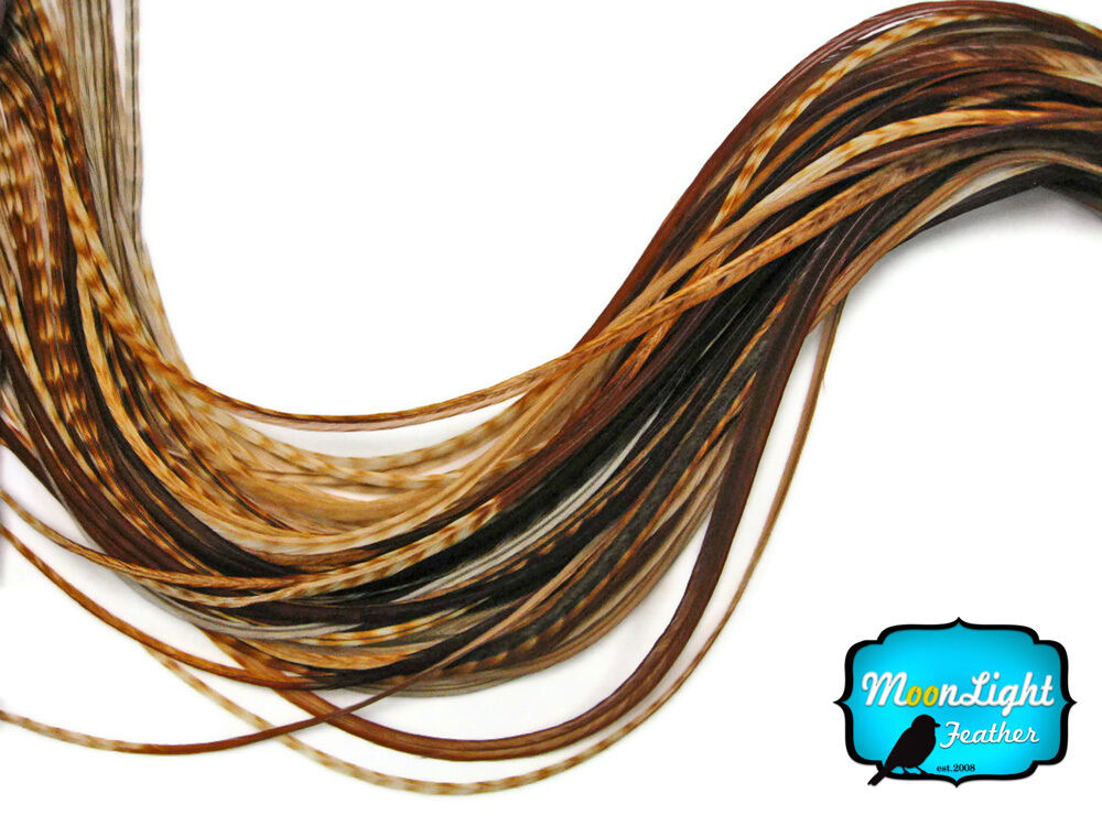 Unique Cream Grizzly Thick Long Rooster Hair Extension Feathers 6 Pieces