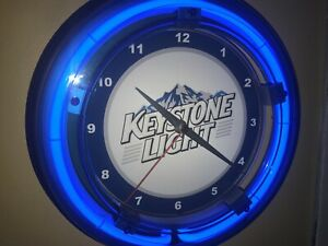 Keystone Light Beer Bar Man Cave Advertising Blue Neon