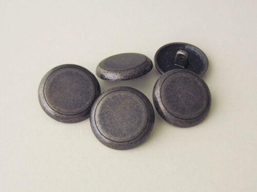 5 simple alteisenfarbene ojales de metal botones con adorno-ranura 5365ei