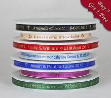 10m x 10mm Personalised Ribbon Wedding Favour Box Christening birthday