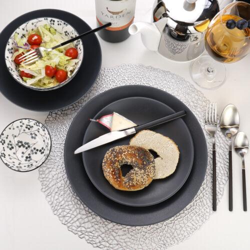 Granito Stoneware Black Pasta Bowls 8.6 Inches Set of 4