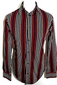 FRENCH-CONNECTION-Mens-Multi-Coloured-Striped-Long-Sleeved-Shirt-Size-Small