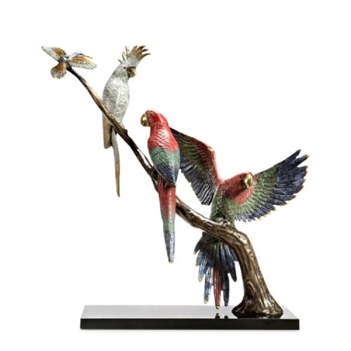 Amazon Birds Tropical Songfest Art Sculpture Statue Macaws Parrot Brass Marble