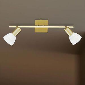 WOFI-Plafonnier-ANGOLA-a-2-LAMPES-LAITON-VERRE-ALBATRE-spots-reglable-E14