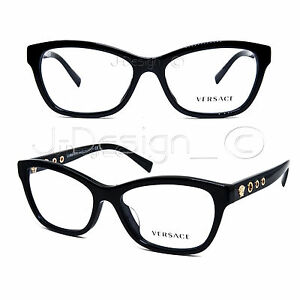 be519808d928 VERSACE MOD.3225 GB1 Black 54-16-140 Eyeglasses Rx Made in Italy ...