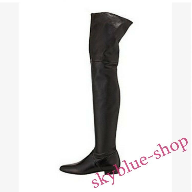 Winter Ladies Sexy Round Toe Flat Over The Knee Boots Thigh High Boot Plus Size