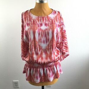Chicos-Womens-Top-Relaxed-Dolman-Smocked-Dropped-Waist-Ikat-Size-1-M