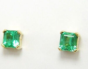 Image Is Loading Colombian Emerald Earrings Square Cut 1 62 Cts