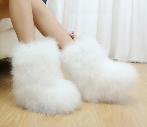 Womens Warm Soft Faux Fur Pull On Furry Ankle Boots Winter Vogue Casual Shoes SZ