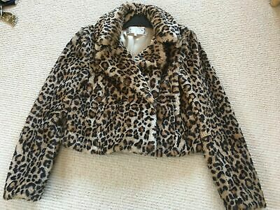Ladies Hooded Faux Fur Leopard Print Crop Jacket Size 8//10