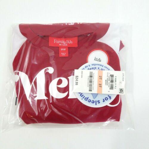 Macys Family Pajamas Red White Merry Toddler 2Pc Knit Pajama Set Size 2T-3T
