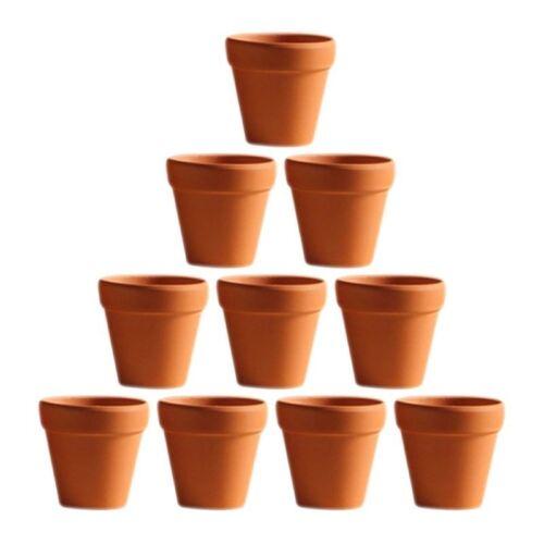 10x Mini Clay Ceramic Terracotta Pot Plant Pots for Wedding Favor Orange OUNONA