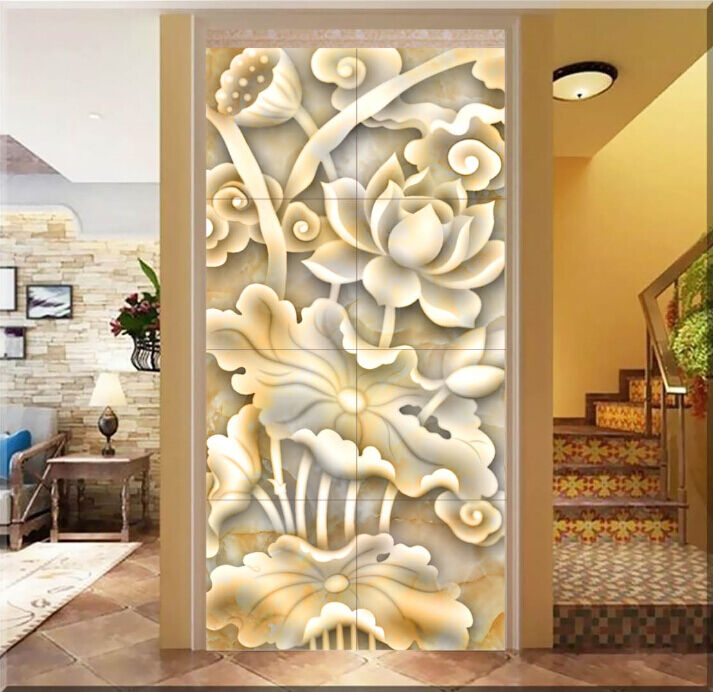 3D Jade Carving Lotus 3 Paper Wall Print Decal Wall Wall Murals AJ WALLPAPER GBC