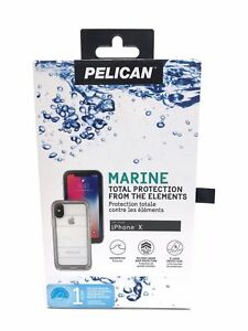 reputable site 320f5 c3e9b Details about Pelican Marine Case Waterproof Case Cover for the Apple  iPhone X Black Clear NEW