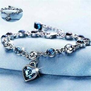 Fashion-Women-925-Silver-Bracelet-Heart-Rhinestone-Crystal-Bangle-Jewelry-UK