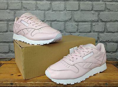 Reebok De Las Señoras UK 5.5 EU 38.5 Rosa Cuero Clásico Zapatillas Rrp £ 60