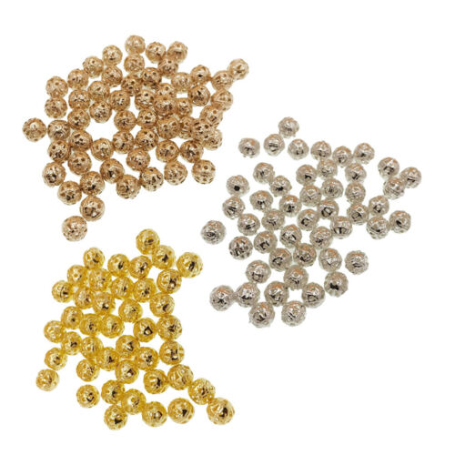240 Mixed Filigree Metal Beads for Craft Loose Spacer Beads Multi-Color 6mm