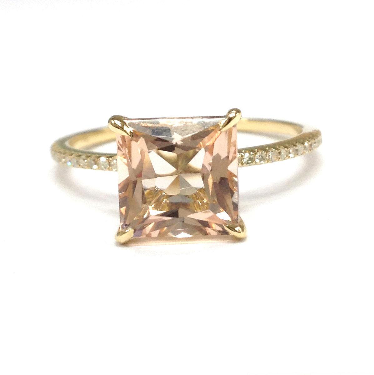 8mm Princess Cut Morganite Diamonds 14K Yellow gold Anniversary  Wedding Ring
