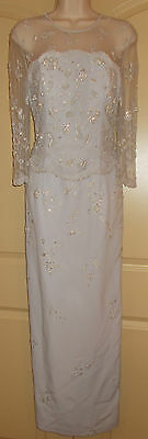 Montage Evening Dress 8 Womens Formal Long Gown Embroidery Beading Gray 4g38