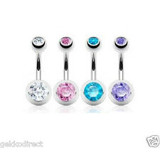 4 Pack of Assorted Double Gem Belly Piercing Bars 1.6mm x 10mm