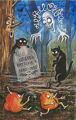 HALLOWEEN PRINT OF PAINTING RYTA FOLK ART GHOST BLACK CAT WITCH GHOUL CEMETERY