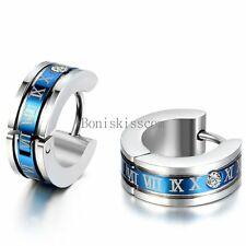 2Pcs Silver Stainless Steel Men's Hinged Hoop Snap on Earrings Roman Numerals