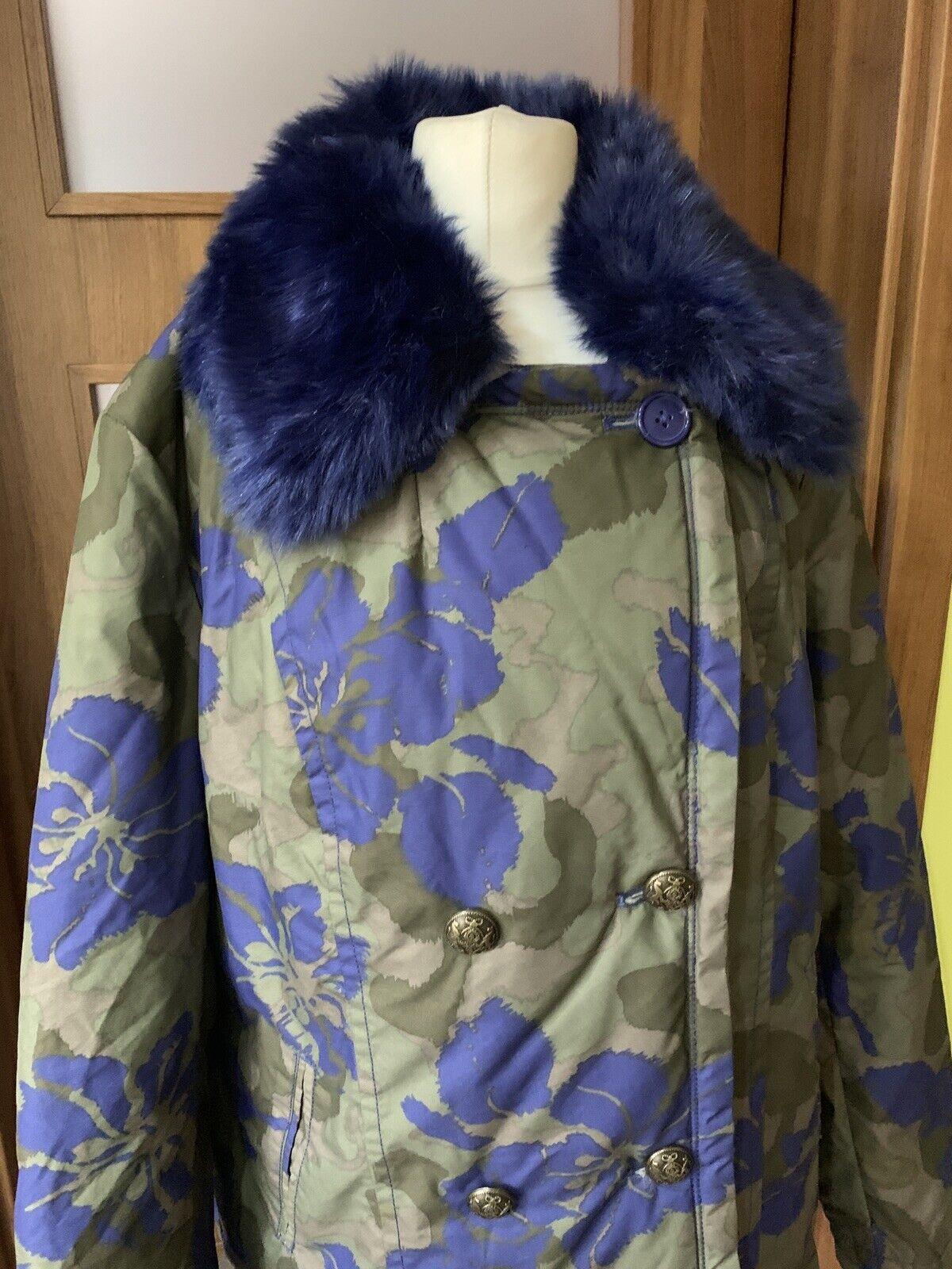 Bonprix Selection Premium Coat bluee Faux Fur Khaki Floral Floral Floral Camo Size ffcdad