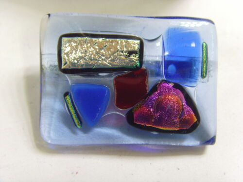 Dichroic Glass Blue Brooch Earrings  Set