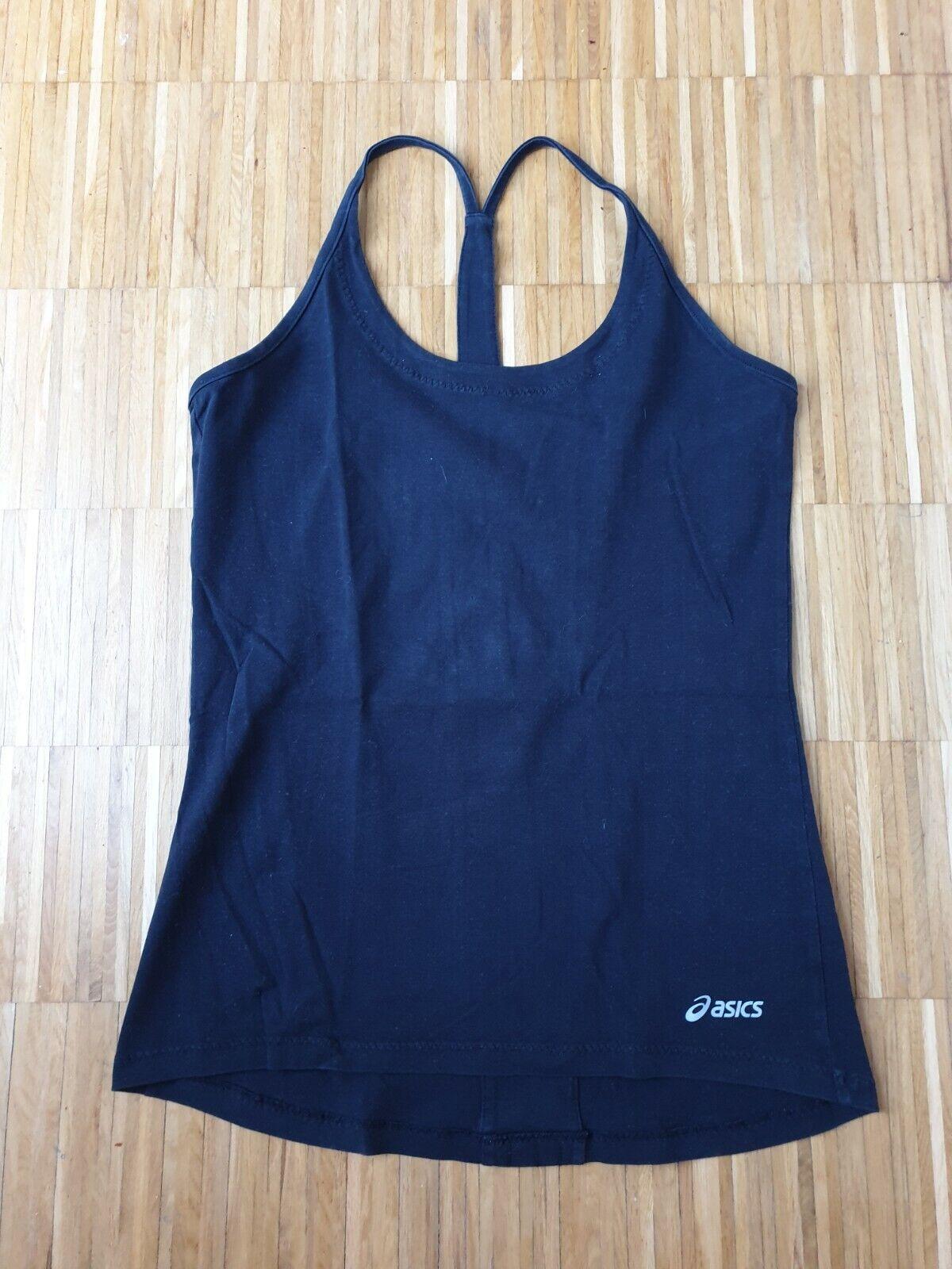 Asics Damen Top Schwarz Logo Träger Sport Laufen Running Fitness Yoga Gr. L