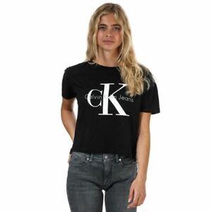 Women's Calvin Klein Logo Regular Fit Cotton T-Shirt in Black
