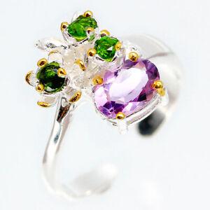 925-Sterling-Silver-Band-Ring-thai-Natural-Amethyst-Vintage-design-RVS105