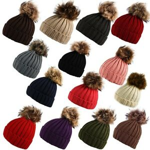 99468836e0a5f6 Unisex Chunky Ribbed Knit Beanie Hat Faux Fur Bobble Pom Pom in ...
