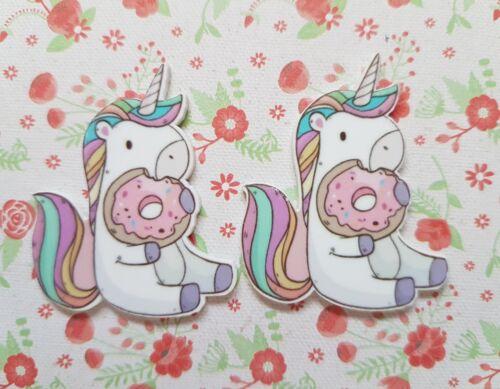 2 x Large Cute Unicorn Donut Flatback Planar Resin Embellishment Craft Bow
