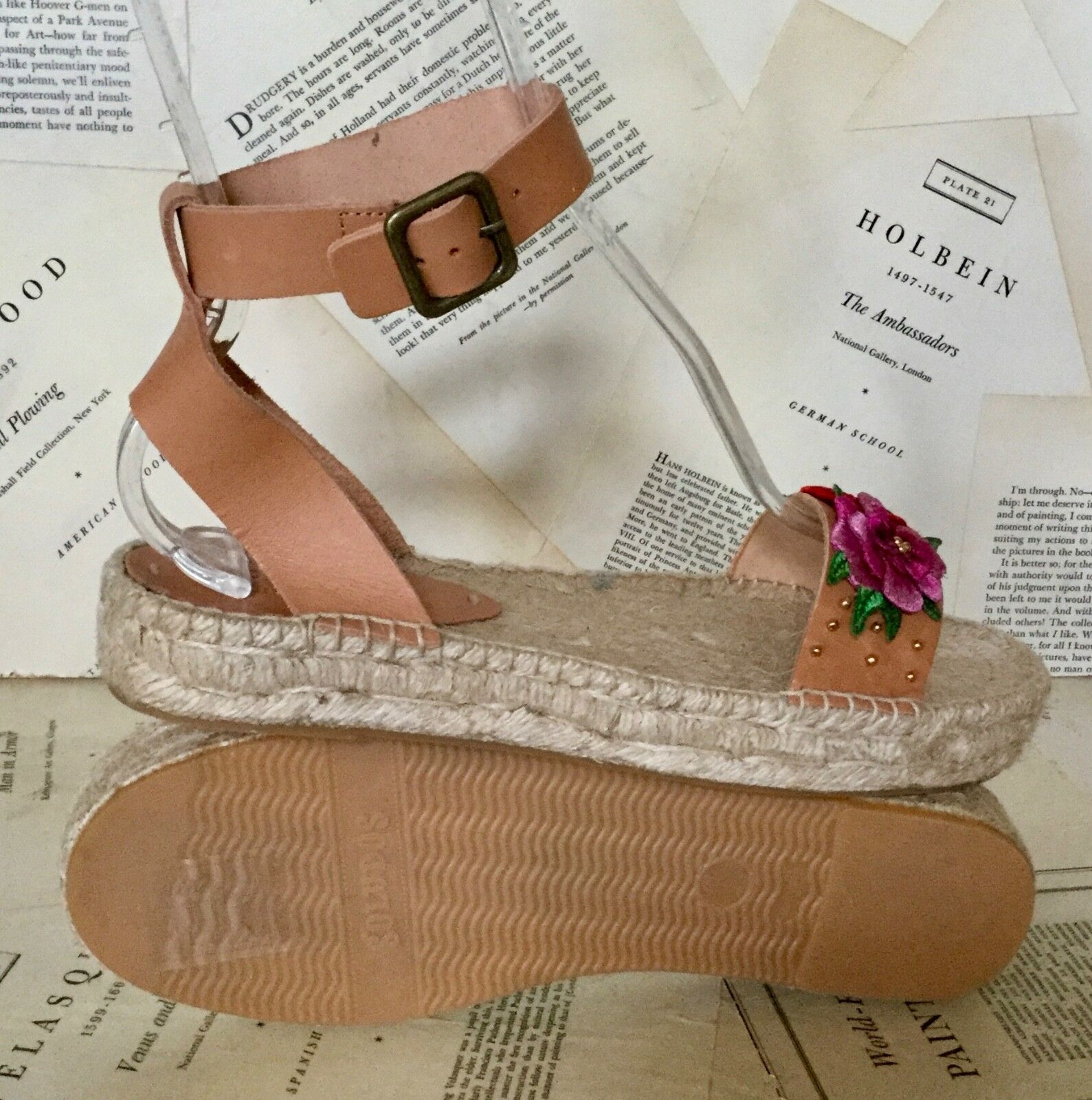 NIB Soludos tan tan tan Rosa Leather Appliqué Flower Raffia Wedge Sandal 10 5446a2
