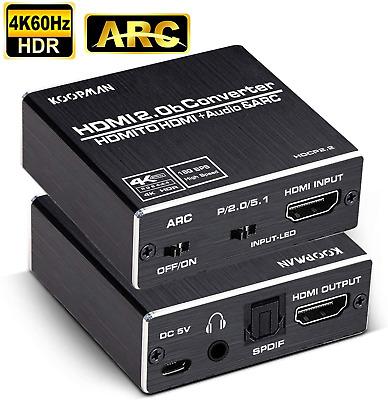 Hdmi audio extractor 4K 60Hz 5.1 arc hdmi to audio optical toslink spdif audio 3.5MM audio stereo audio converter adapter