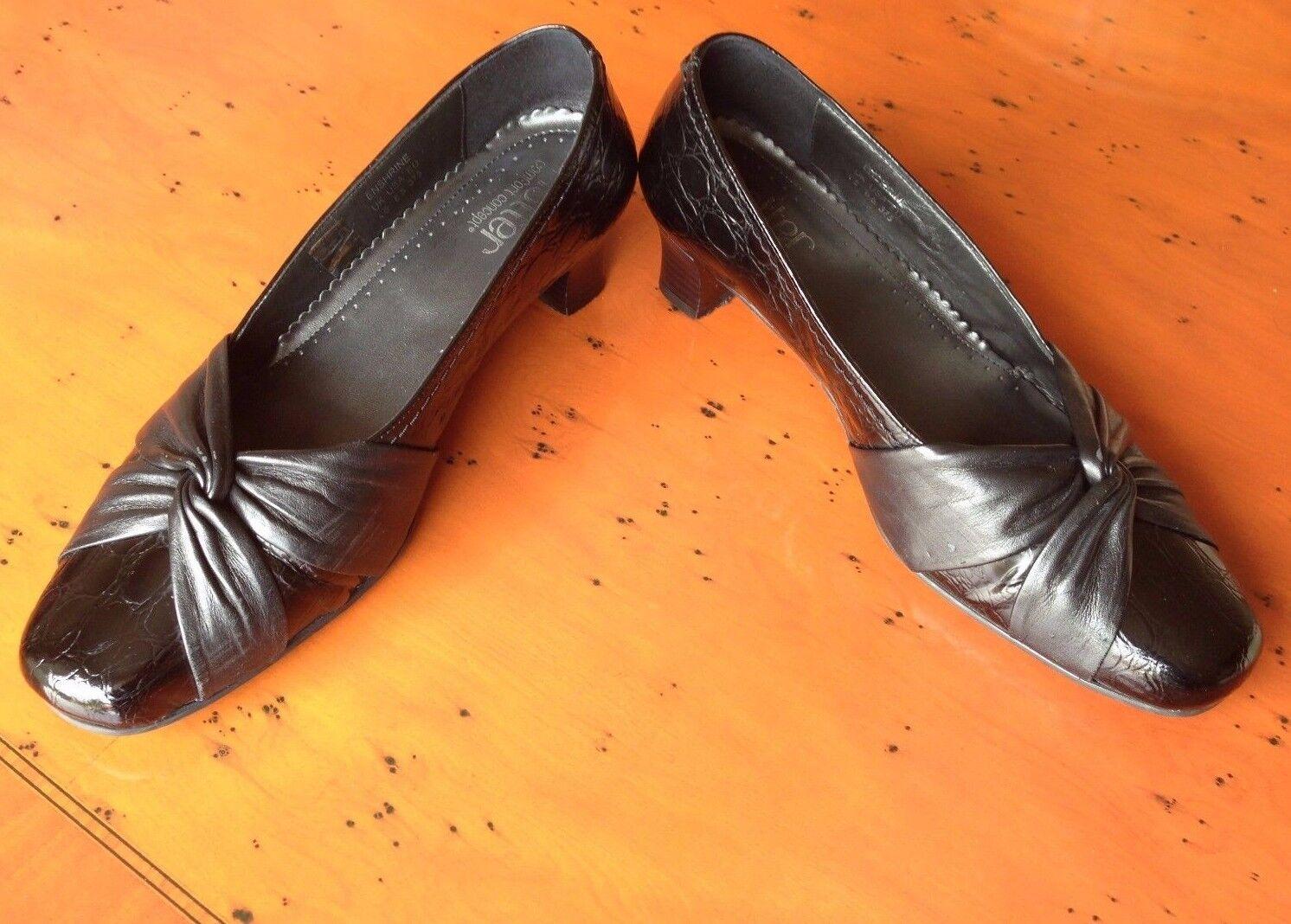Hotter Enshrine black patent croc print leather court shoes UK 4.5 EU 37.5