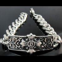 Men Classic Silver Cross Rolo Chain Bracelet For Harley Davidson Biker Tb106
