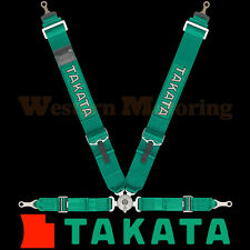 Takata Seat Belt Harness: Race 4-Point ASM - Green (Bolt-On) 71001US-H2
