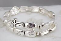 Silver Bible Verse Bracelet Matthew 7:7 Memory Wire Wrap Fashion Jewelry