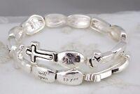 Silver Bible Verse Bracelet Matthew 7:7 Memory Wire Wrap Fashion Jewelry