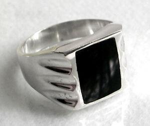 925-ECHT-SILBER-Massiver-Onyx-schwarz-Herren-Ring-Siegelring-Gr-73-74