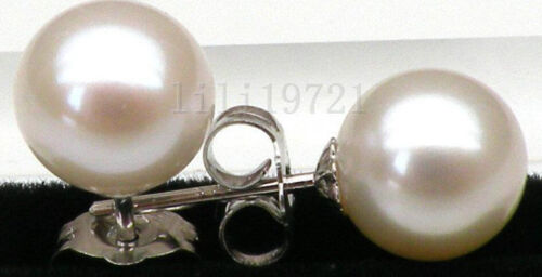 Geunine AAA 9.5mm round white south sea pearl earring 14k solid white gold
