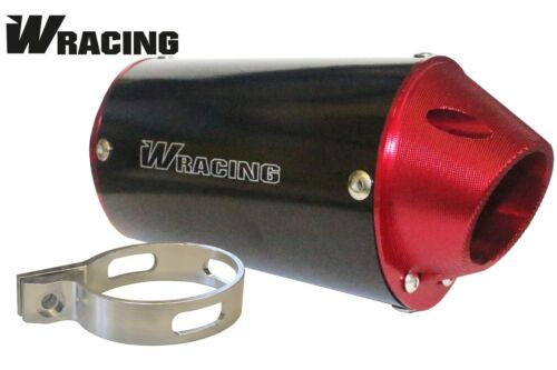 W Racing Exhaust End Can Oval Muffler CRF50 70 110 38mm CW Big Bore CNC Red