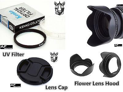 F47 Lens Hood + Lens Cap + UV Filter 43mm for Digital Camera Camcorder Lenses